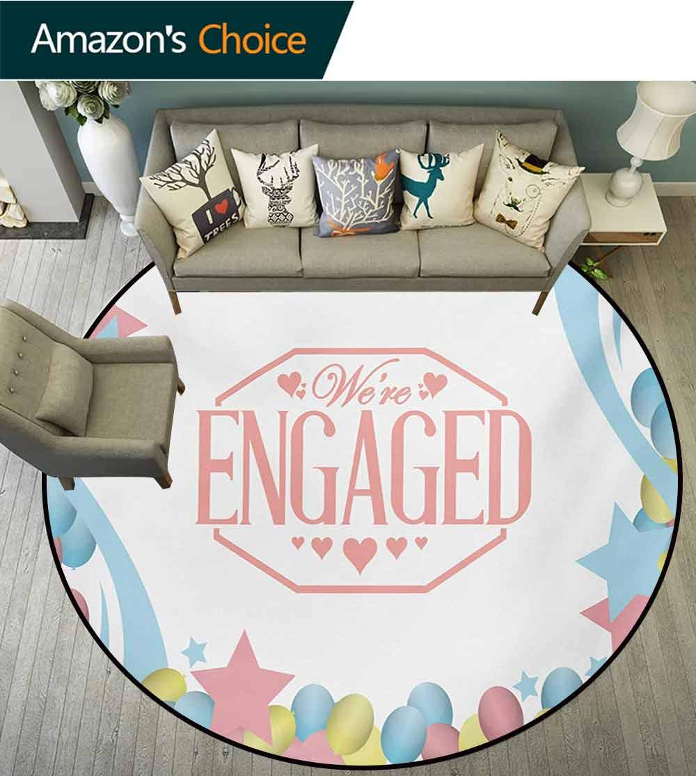 Engagement Party Modern Machine Washable Round Bath Mat,We are Engaged Celebration Balloons Stars Swirls Vintage Image Non-Slip Living Room Soft Floor Mat,Diameter-47 Inch
