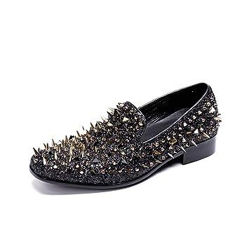 Hombres Mocasines Slip-on Brillante Lentejuela Rivet Negro Cuero Zapatos Discotecas Fiesta Elegante Noche Vestir Pisos Zapatos: Amazon.es: Deportes y aire ...
