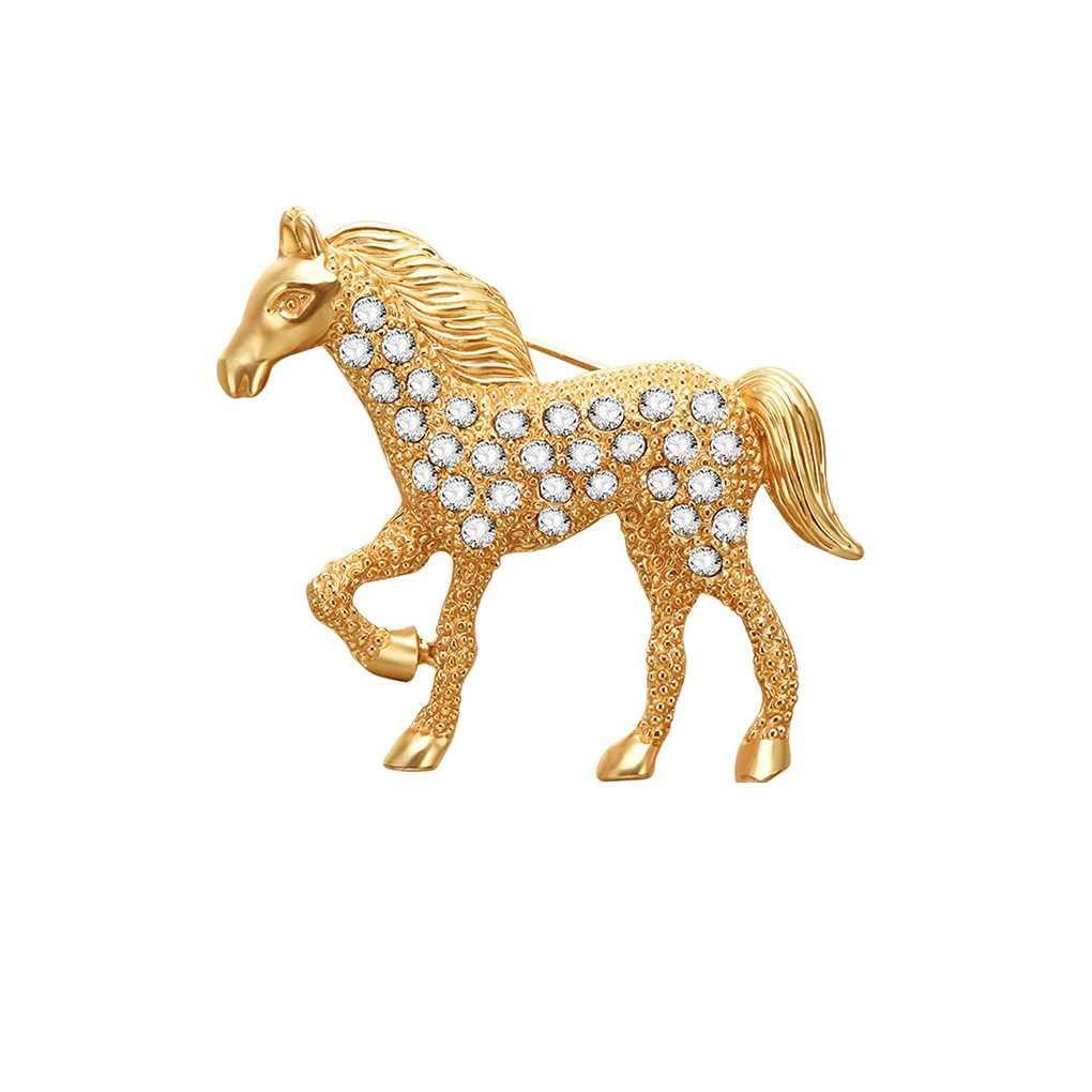 Pegcdu Caballos Elegante Rhinestone Broche de Cristal Broche y Animales Hombres Mujeres Ropa Accesorios