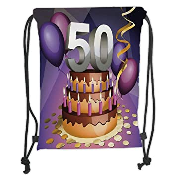 New Fashion Gym Drawstring Backpacks Bags50th Birthday DecorationsCreamy Cake With Many Candles