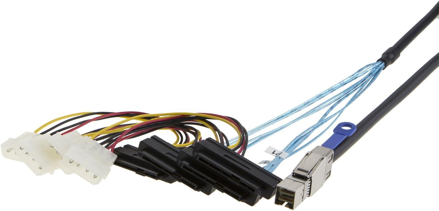 cablecreation 3,3/ft interne HD Mini SAS sff-8644/zu 4/x SFF-8482/Kabel mit SATA Power 1/m//schwarz...