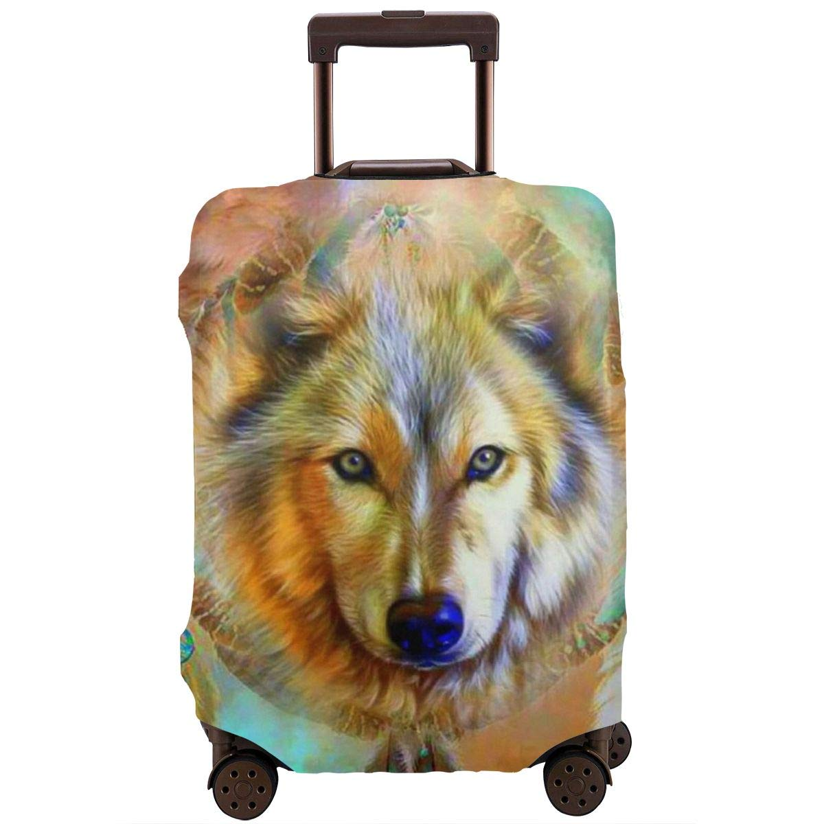 Luggage Cover American Indian Wolf Head Dreamcatcher Protective Travel Trunk Case Elastic Luggage Suitcase Protector Cover