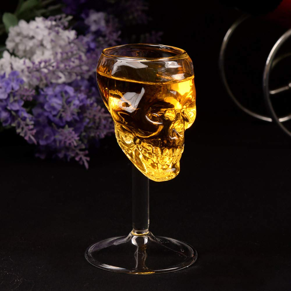 Binmer Cup,Transparent Beer Wine Cup Bottle Glass Skull Cup Red Wine Sober