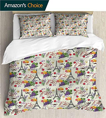 VROSELV-HOME Print Comforter Quilt Set,Box Stitched,Soft,Breathable,Hypoallergenic,Fade Resistant Bedding Sets-European French Wine Macarons (80