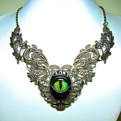 Black leather necklace with dragon eye. Gothic fashion necklace. Halloween necklace. LARP. Bib necklace. Statement -