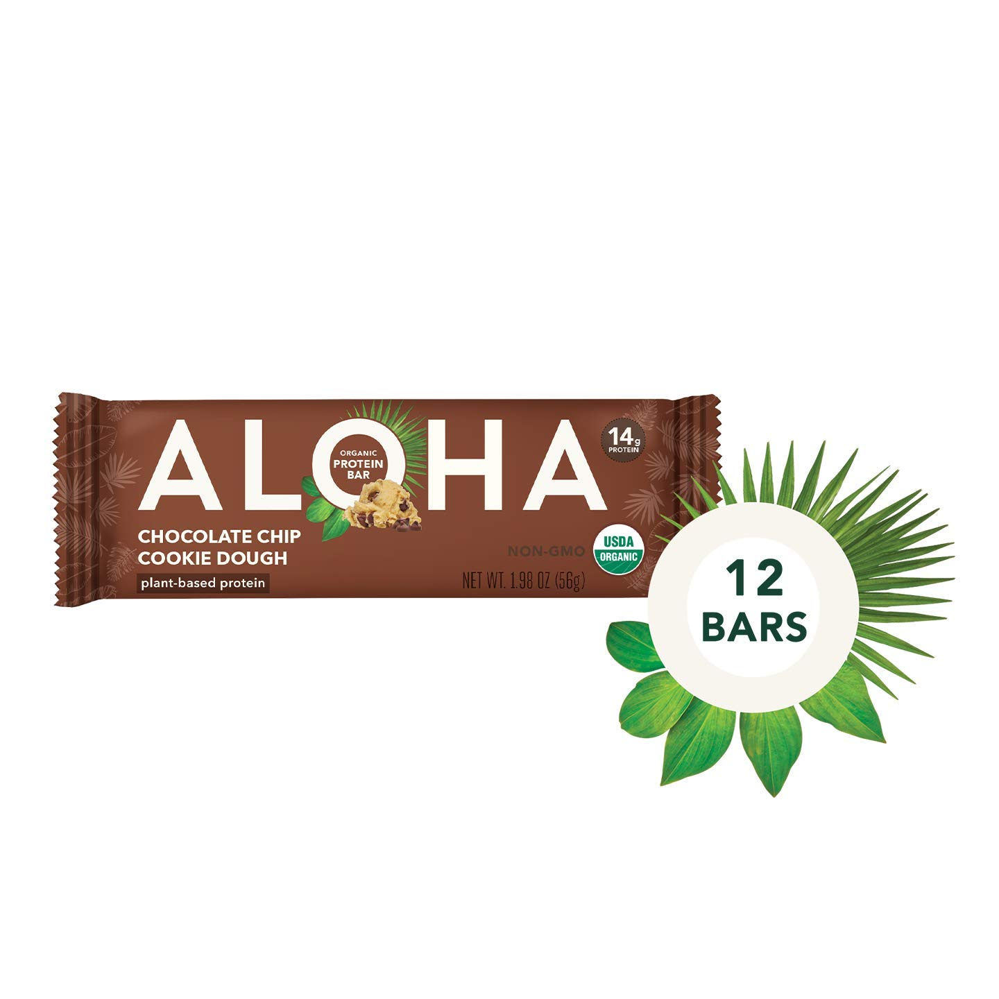 ALOHA Organic Plant Based Protein Bars |Chocolate Chip Cookie Dough | 12 Count, 1.9oz Bars | Vegan, Low Sugar, Gluten Free, Paleo, Low Carb, Non-GMO, Stevia Free, Soy Free by ALOHA