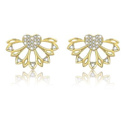 a2be922ca Earrings for Girls,Lotus Flower Fashion Personality Hollow Heart Simply  Chic Earrings Stud Earrings Gold(Earrings): Amazon.co.uk: Jewellery
