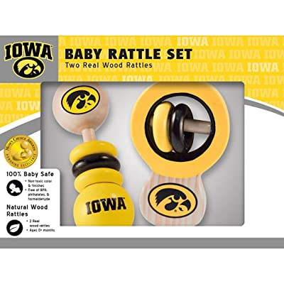 MasterPieces NCAA Iowa Hawkeyes Baby Rattle, 2-Pack: Sports & Outdoors