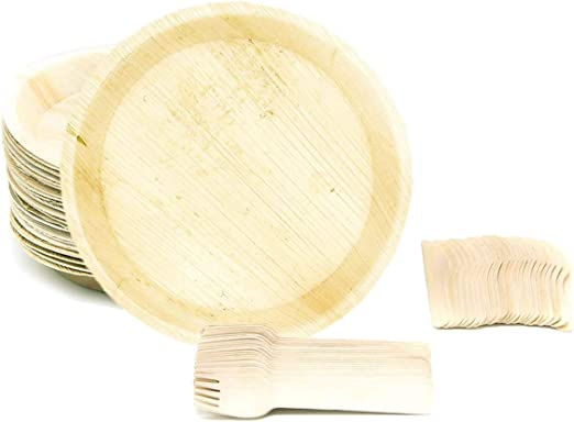 50x Leaf Eco-Plate Bio-Tableware Round Size 25 cm Party Disposable kompostierbar