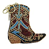 MARY FRANCES Hoe Down Beaded Western Cowgirl Boot Coin Purse-Key Fob