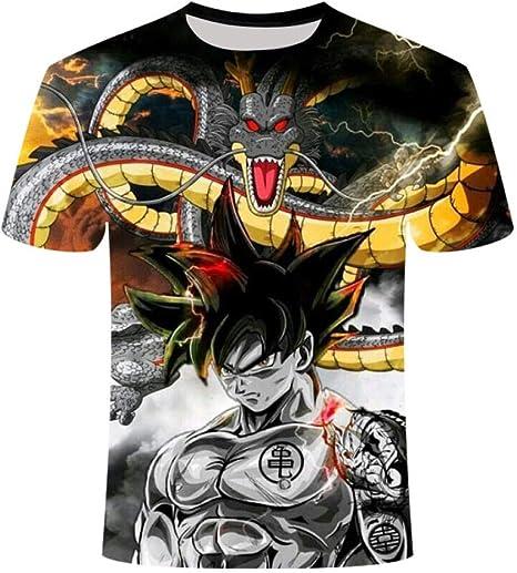 Zzfklj Camiseta S 3D Style para Hombre Dragon Ball Z Goku Super Saiyan Y Vegeta Camiseta Estampada De Verano De Dibujos Animados Talla 4XL: Amazon.es: Deportes y aire libre