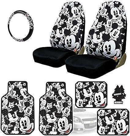 Neues Design Disney Mickey Maus Autositzbezüge Bodenmatten Lenkrad Cover Zubehör Set Mit Reise Größe Violett Slice Auto