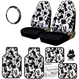 Yupbizauto New Design Disney Mickey Mouse Car Seat Covers Floor Mats Steering Wheel Cover Accessories Set