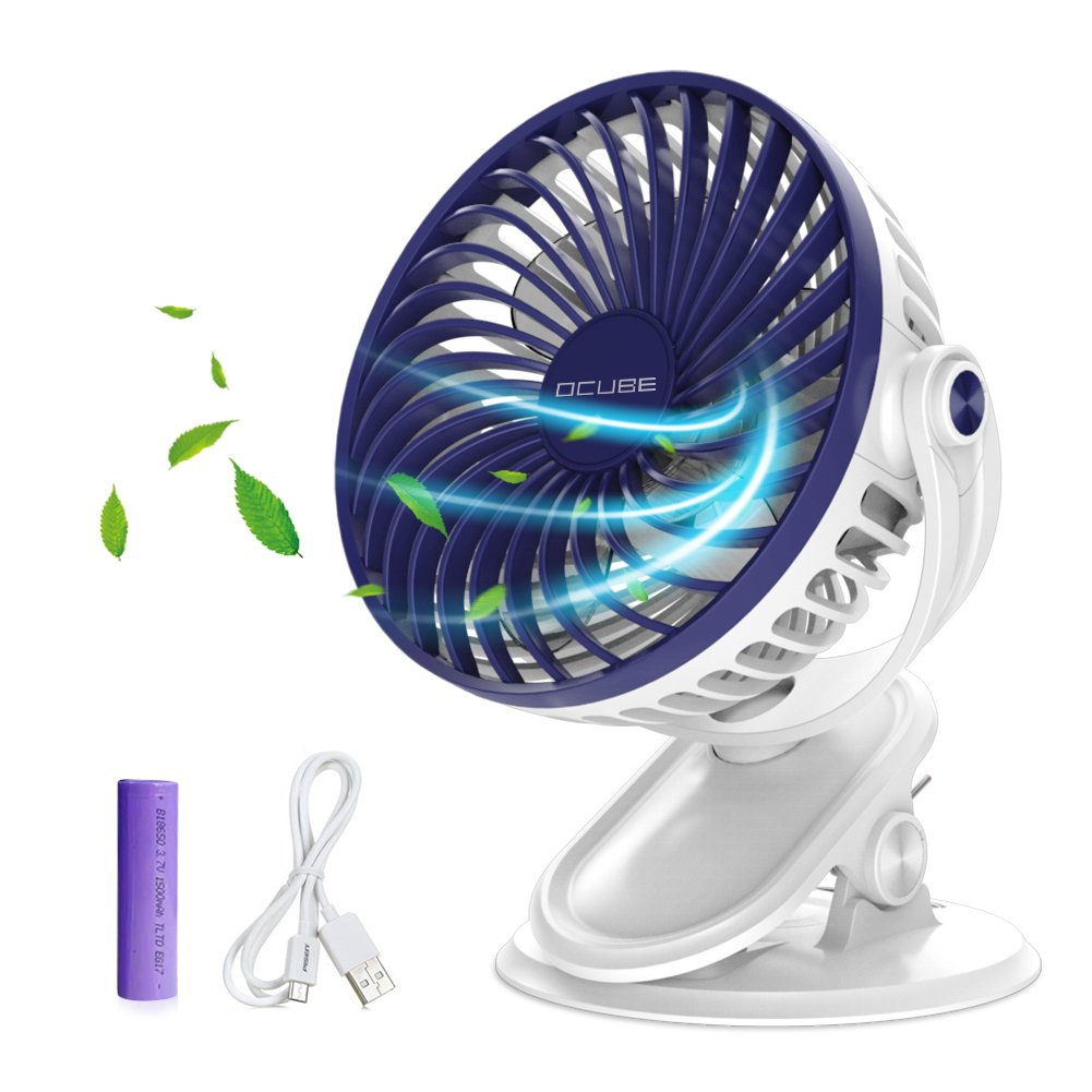 Battery Operated Fan,OCUBE Mini Clip on Desk Fan, Personal Portable Fan with 3 Speeds,USB or Rechargeable 2000mAh Battery Powered Cooling Fan for Baby Stroller,Car,Office, Outdoor Activity(Dark Blue) by OCUBE
