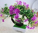 Situmi Artificial Fake Flowers PlasticGreen PlantsBonsaiTreeDesktopdecor,Purple3528cm