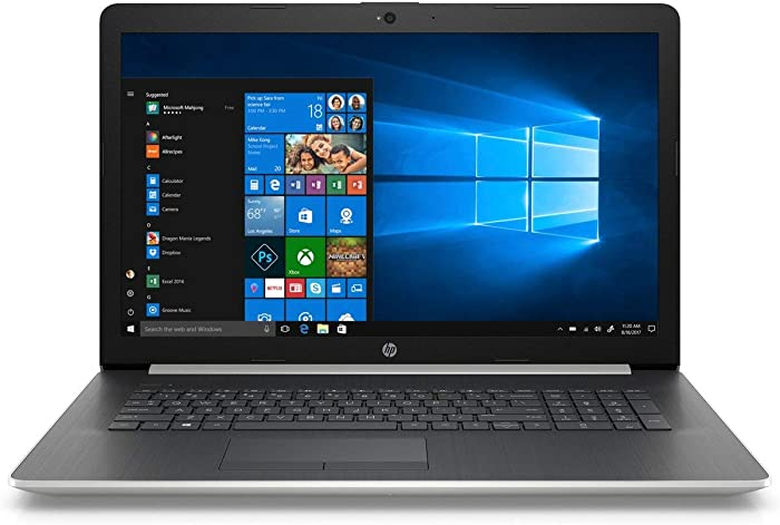 HP 17.3 Inch Flagship Notebook Laptop Computer(Intel Core i5-8250U up to 3.4GHz, 16GB DDR4 RAM, 256 GB SSD, Intel UHD Graphics 620, HD Webcam, DVD, Windows 10) Silver