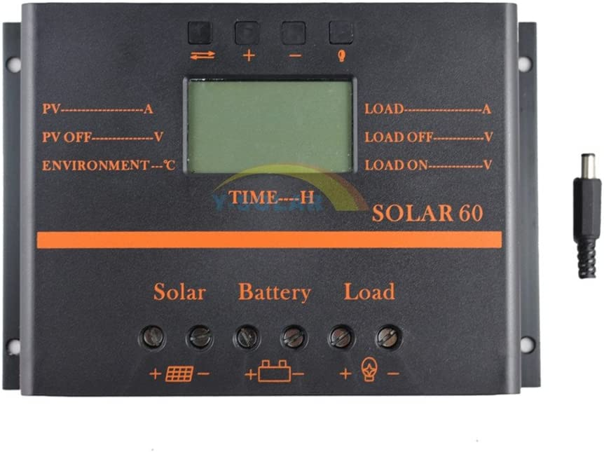 Y-SOLAR 60A Solar Battery Regulator Charge Controller with 12V 24V auto 5V USB Output