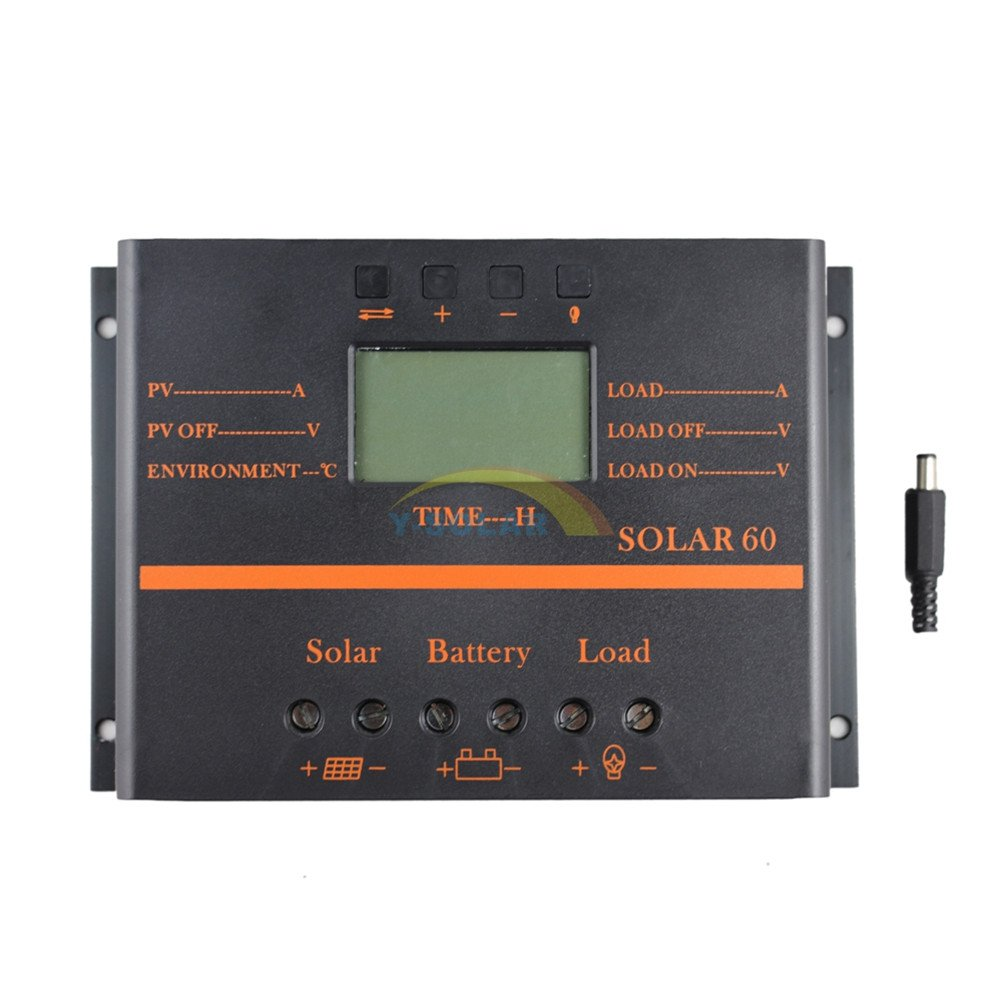 60A Solar Charge Controller, Y-SOLAR PWM Solar Panel Controller 60amp 12V/24V Battery Charge Controller with LCD Display 5V USB Mobile Charger Output Enhanced Heat Sink YSmart Technology Co. Ltd