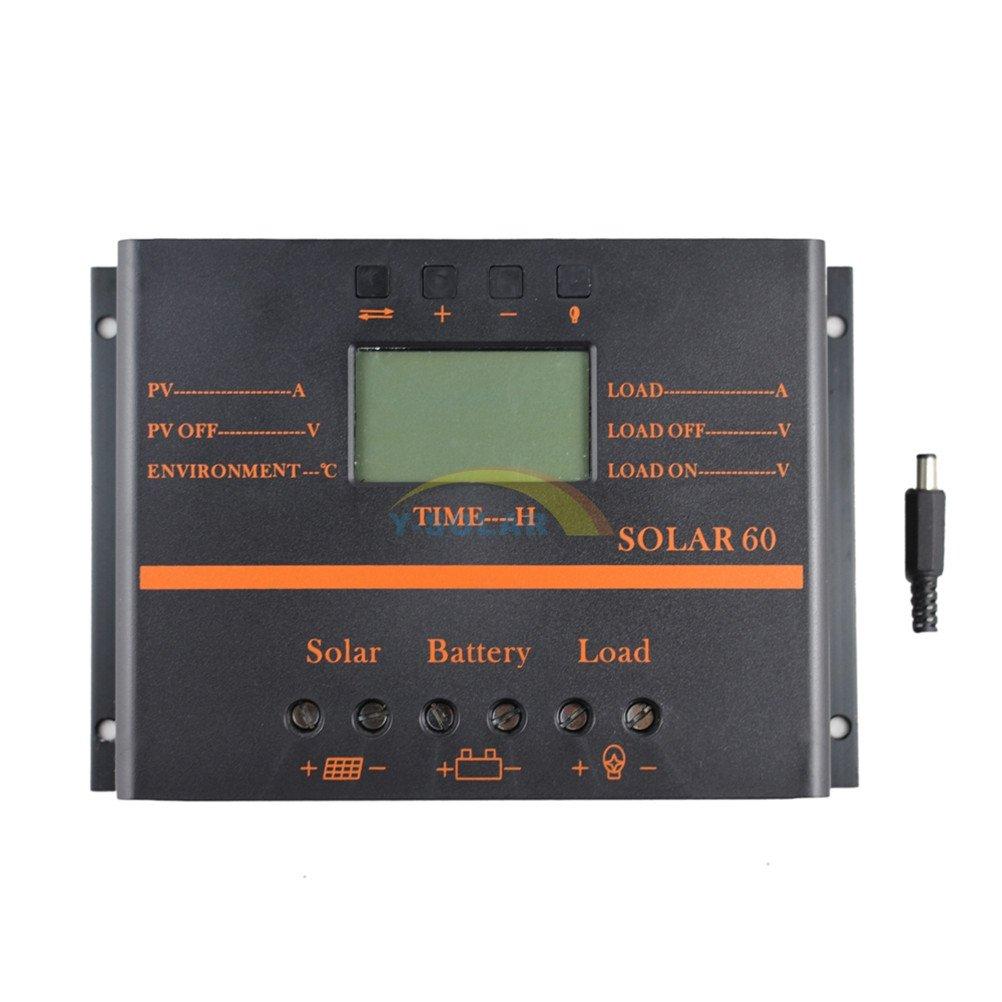 Y-SOLAR 60A Solar Battery Regulator Charge Controller with 12V 24V auto 5V USB Output