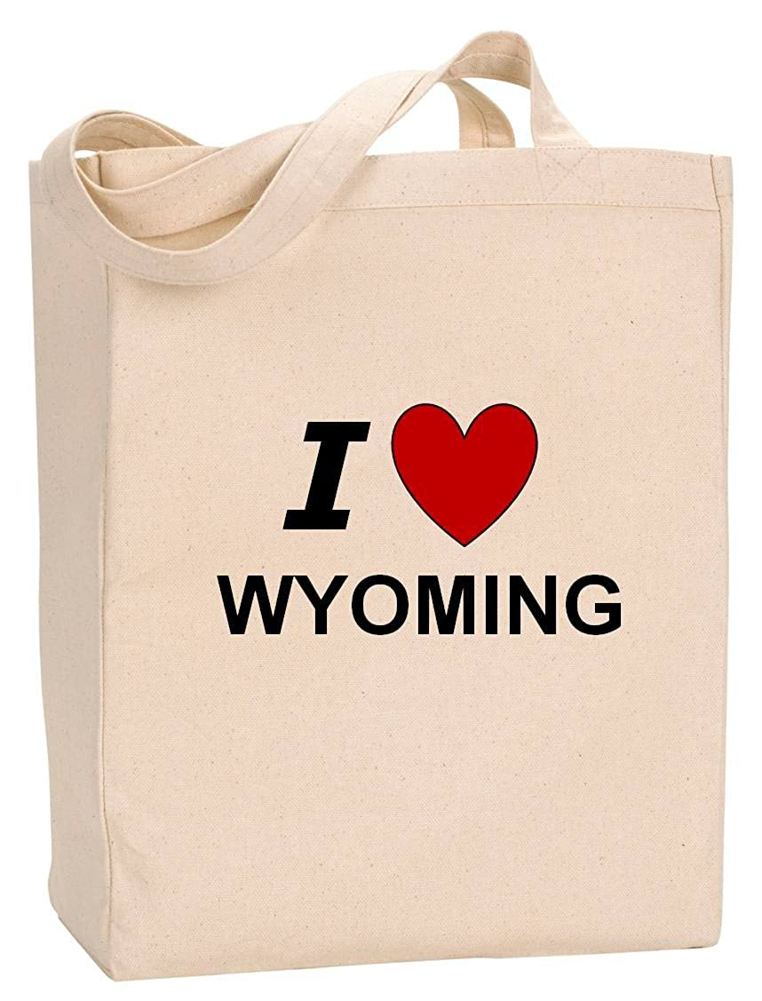 I LOVE WYOMING - State Series - Natural Canvas Tote Bag with Gusset