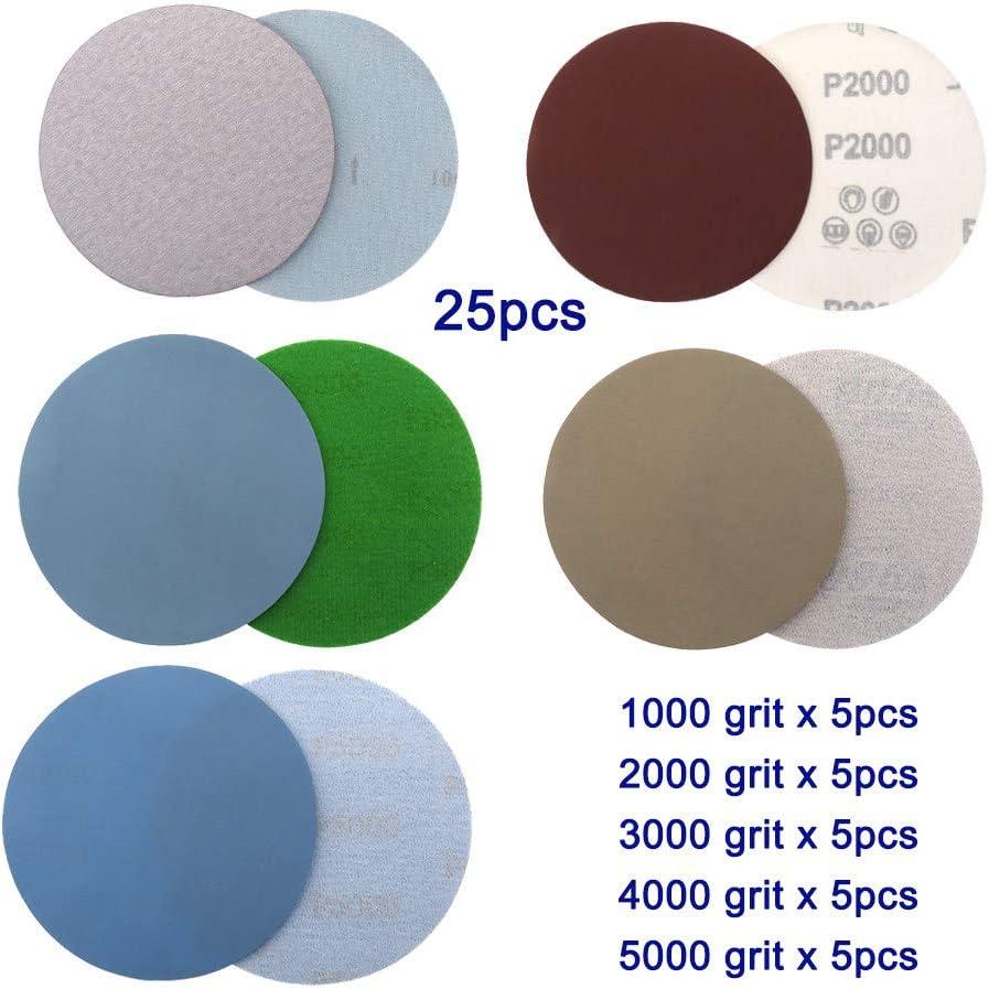 YJRIC carta vetrata 25 pezzi 5 pollici a secco e amp;/Dischi abrasivi rotondi con carta vetrata bagnata Grana 1000//2000//3000//4000//5000 Fogli di sabbia per lucidatura ad anello