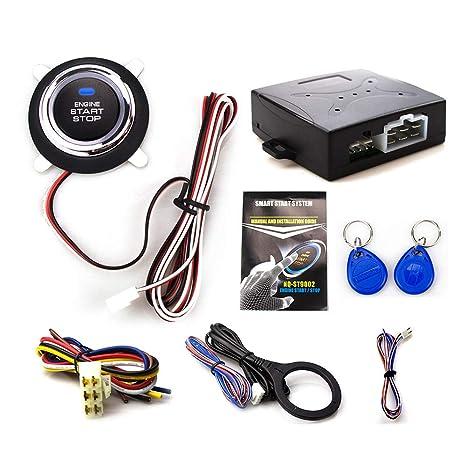 Eunavi Smart RFID Car Alarm System Push Engine Start Stop Button  Transponder Immobilizer Keyless Go Fits for 12v Cars Carsmate