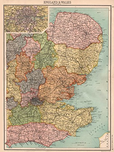 EASTERN ENGLAND. East Anglia Home Counties East Midlands London - 1898 - old map - antique map - vintage map - printed maps of Great Britain