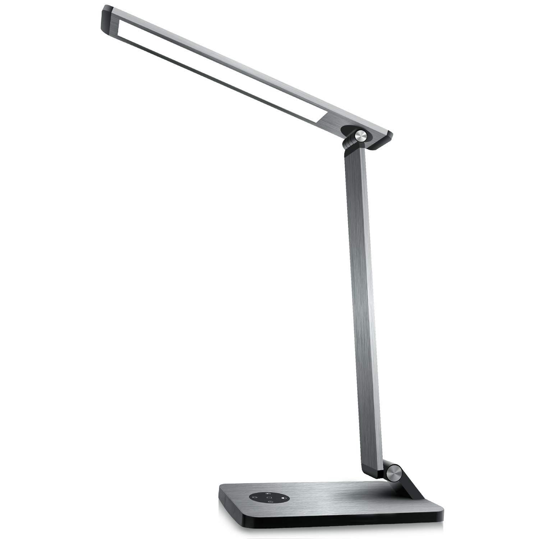 デスクライト LED 目に優しいテーブルランプ 無段階調光電気スタンド 2.4A急速充電 USBポート対応機能付 インテリジェントスリープモード振動アラームおよび光保存機能 学習机 オフィス 寝室に適しています (スペースグレー)