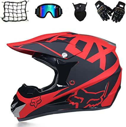Fashion tornado:Casco de cruz, Moto, Negro y Rojo, Casco de Motocross para adultos con Gafas