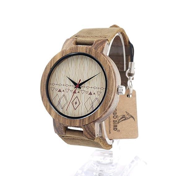 HWCOO Hermosos Relojes De Madera Chapa de Cuero Woody Chapa de Madera Bobo Bird (Color : 2): Amazon.es: Relojes