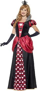 NET TOYS Elegante Disfraz Reina de Corazones - Negro-Rojo S (ES 36 ...