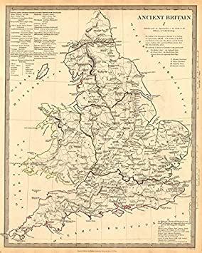 Road Map Of England And Wales With Towns.Ancient Britain England Wales Roman Road Town Names Ptolemy