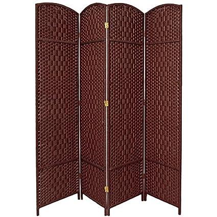 7 ft tall room dividers amazon oriental furniture ft tall diamond weave room divider dark red panels amazoncom