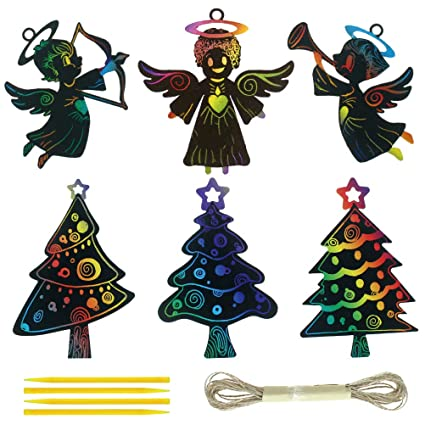 Angel Ornaments For Christmas Tree.Creatrill 30 Pcs Christmas Scratch Art For Christmas Tree Angel Ornaments Magic Color Scratch Craft Kits For Kids Christmas Party Favor With 15