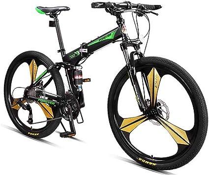 Qj Bicicletas De Montaña, 27 Overdrive Velocidad De 26 Pulgadas De Montaña Bicicleta De Pista, Marco Plegable De Acero De Carbono De Alta Rígidas De Bicicletas De Montaña,Verde: Amazon.es: Deportes y aire