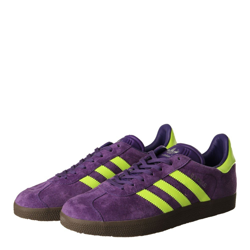 adidas Originals Men's Gazelle Lace-up Sneakers, Purple/Electric Green, Dark Gum, 10.5 US by adidas