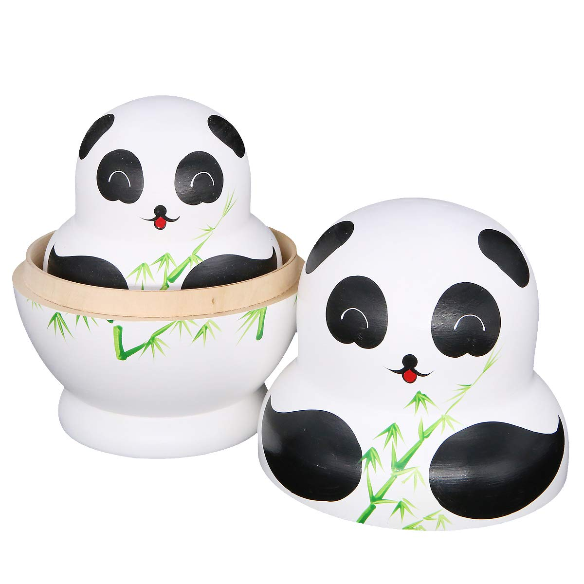 Apol Set of 15 Panda Bear with Bamboo Nesting Dolls Big-Belly Wooden Handmade Matryoshka Russian Doll in a Box with Bow for Kids Toy Home Decoration Year by Apol (Image #5)
