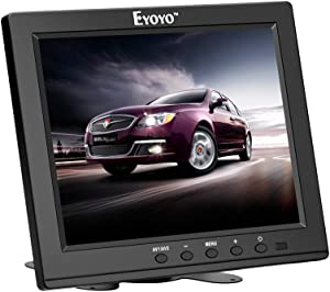 Eyoyo 8 Inch HDMI Monitor 1024x768 Resolution Display Portable 4:3 TFT LCD Mini HD Color Video Screen Support HDMI VGA BNC AV Ypbpr Input for PC CCTV Home Security with Mount