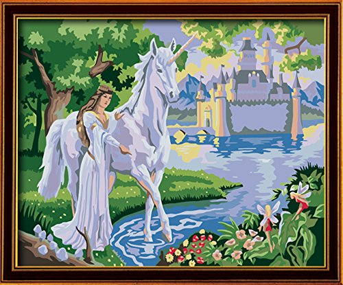 DIY PBN-paint by numbers Angel and Unicorn 16-by-20 inches Frameless.