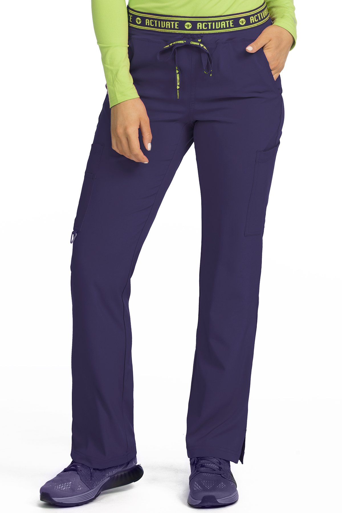 Med Couture Women's 'Activate' Flow Yoga Cargo Scrub Pant, Plum, X-Small Petite