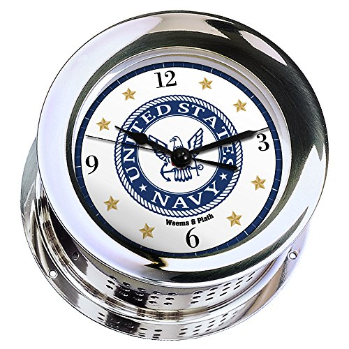 ed Quartz Ship's Bell Clock #NV220100 01C (#9 Emblem Printed in Full Color with Black Numbers, Gold Stars, and Navy Blue Border) ()
