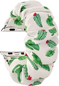 MONOBLANKS Scrunchie Elastic Watch Band Compatible for Apple Watch Band 38mm/40mm 42mm/44mm,Thick Elastic Band Replacement Compatible with for iWatch Series 4/3/2/1 (Cactus, 38MM/40MM)