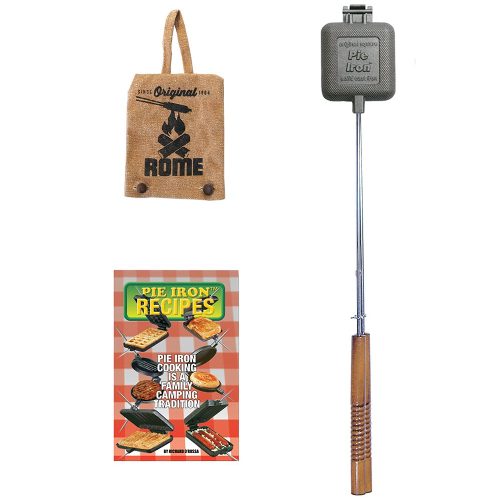 Rome Industries Square Pie Iron Gift Set with Recipe Book & Canvas Pie Iron Cover, 28'', Gray