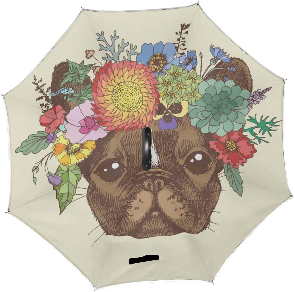 Double Layer Inverted Inverted Umbrella Is Light And Sturdy Portrait French Bulldog Wreath Flowers Hand Reverse Umbrella And Windproof Umbrella Edge
