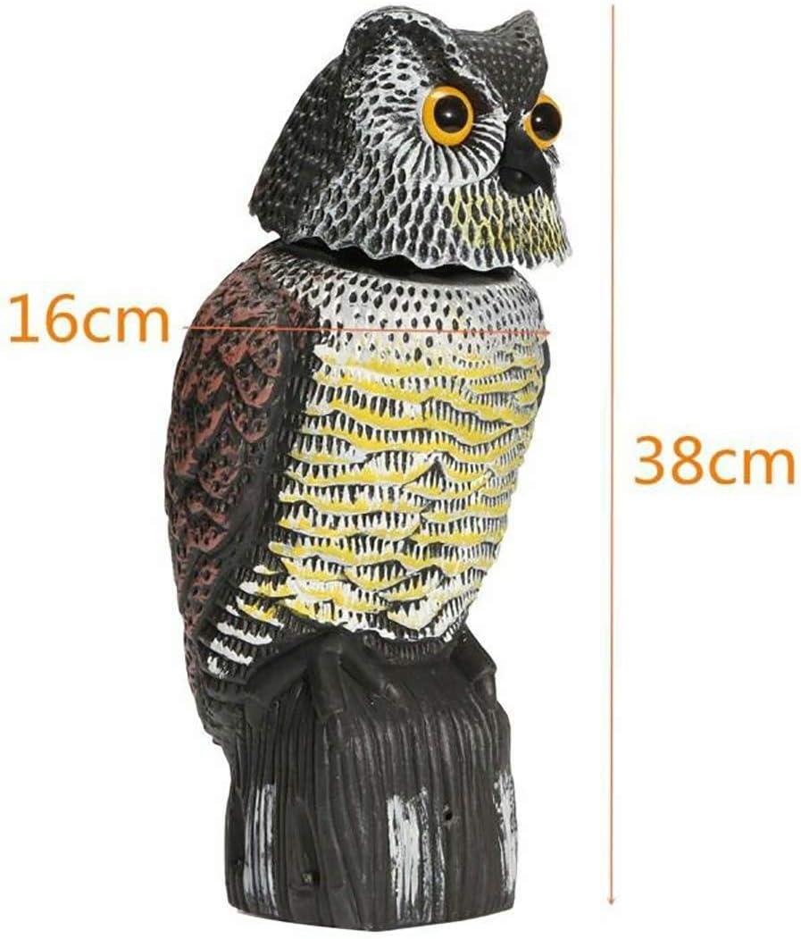 Realistic Eyes /& Waterproof Shape Owls for Bird Control Huarui Owl Decoys to Scare Birds Away