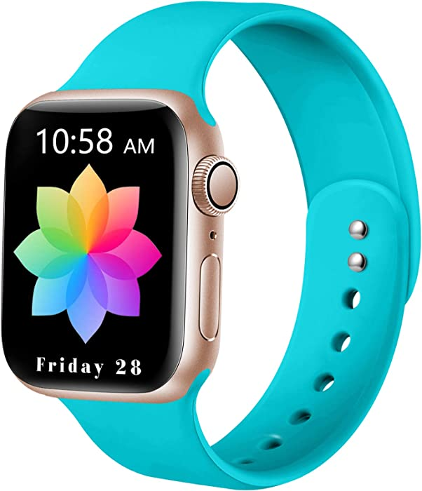 DaQin Sport Band Compatible with Apple Watch 42mm 44mm, Soft Silicone Replacement Wristbands for iWatch Series 6/SE 5 4 3 2 1 Teal