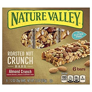 Nature Valley Gluten Free Roasted Nut Crunch Granola Bars, Almond Crunch, 6 - 1.2 Ounce Bars (Pack of 2)
