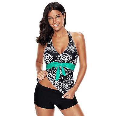 70940996d3e21 iBaste Women's Tummy Control Swimsuit Sexy Two Piece Halter Neck Bikini Set  Swimwear Plus Size