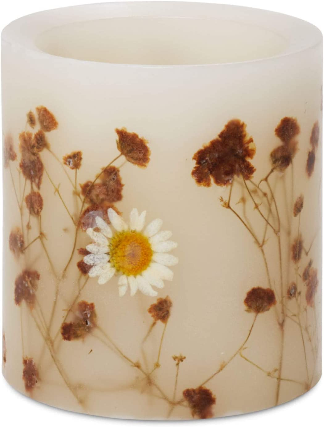 Matchless Flameless Pillar Candle Small, LED, Embedded White Flowers, White Waters Scented, (Ivory, 3.5 Inches x 4 Inches Tall), Push Button, Real Wax, 5 Hour Timer, Battery Powered