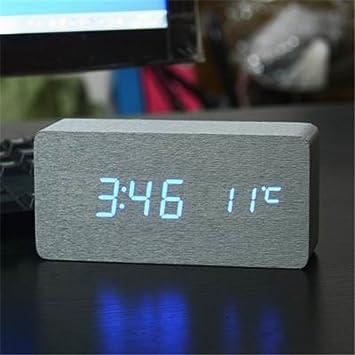 Amazon.com: HOMECLVS LED Wooden Alarm Clock Digital Watch ...